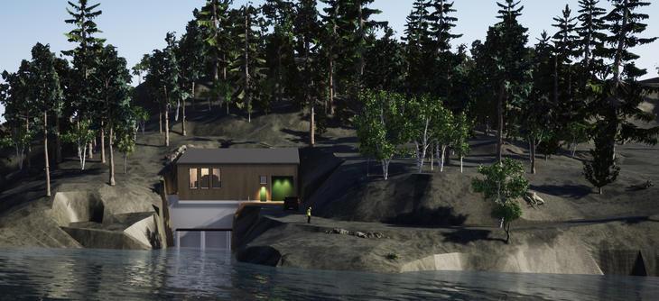 Illustrasjon av ny kraftstasjonsbygning